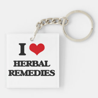 I love Herbal Remedies Double-Sided Square Acrylic Keychain