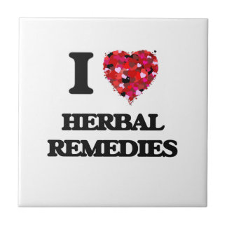 I Love Herbal Remedies Small Square Tile