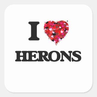 I Love Herons Square Sticker