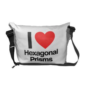 i love hexagonal prisms messenger bag