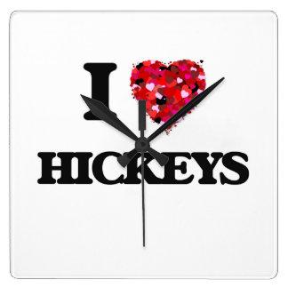 I Love Hickeys Square Wall Clocks