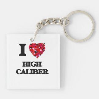 I love High Caliber Double-Sided Square Acrylic Keychain