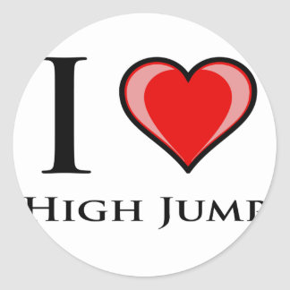 I Love High Jump Classic Round Sticker