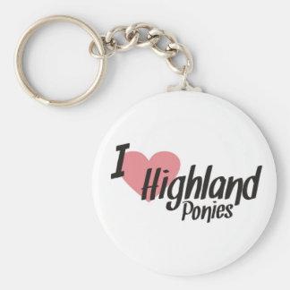 I Love Highland Ponies Keyring Keychain