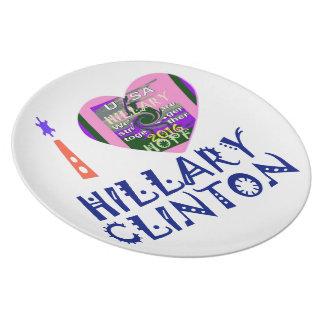 I Love Hillary Clinton for USA President Heart art Dinner Plate
