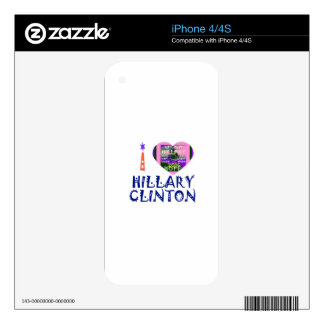 I Love Hillary Clinton for USA President Heart art Skin For The iPhone 4S