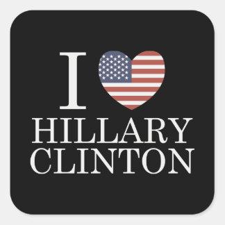 I Love Hillary Clinton Square Sticker