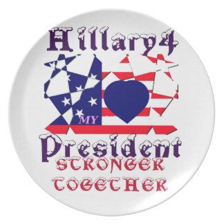I love Hillary For USA President We are Stronger T Melamine Plate