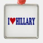 I Love Hillary Ornaments