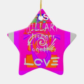 I Love Hillary USA President Stronger Together art Ceramic Ornament