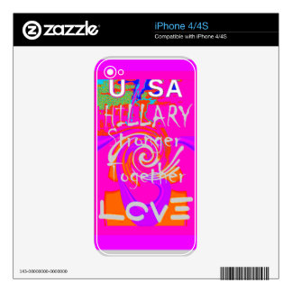 I Love Hillary USA President Stronger Together art Decal For iPhone 4
