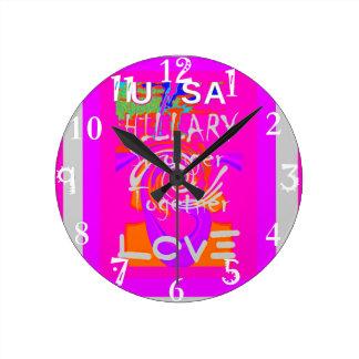I Love Hillary USA President Stronger Together art Round Clock