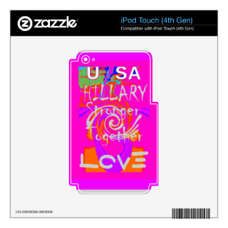 I Love Hillary USA President Stronger Together art Skin For iPod Touch 4G