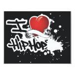"I Love Hip Hop - Blank Invitation  4.25"" X 5.5"" Invitation Card"