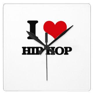 I Love HIP HOP Square Wallclocks