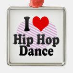 I love Hip Hop Dance Metal Ornament