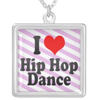 I love Hip Hop Dance Square Pendant Necklace