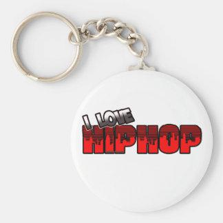 I Love HIP HOP Music Basic Round Button Keychain