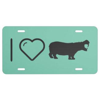 I Love Hippo License Plate