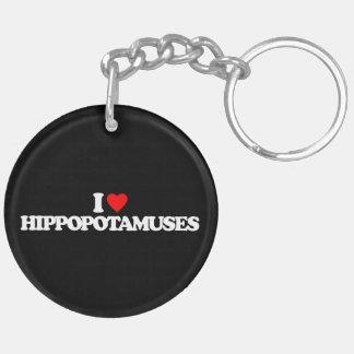 I LOVE HIPPOPOTAMUSES Double-Sided ROUND ACRYLIC KEYCHAIN