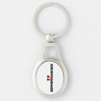 I LOVE HIPPOPOTAMUSES Silver-Colored OVAL METAL KEYCHAIN
