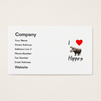 I Love Hippos (2) Business Card