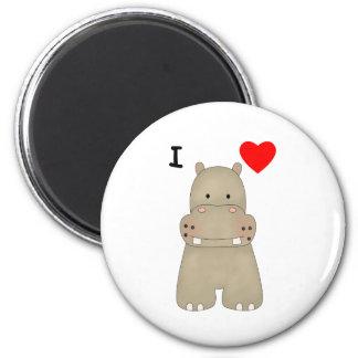 I Love Hippos 2 Inch Round Magnet