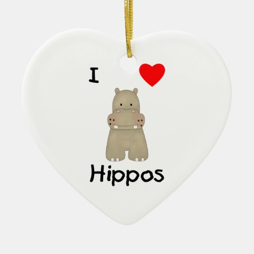 I Love Hippos (3) Double-Sided Heart Ceramic Christmas Ornament