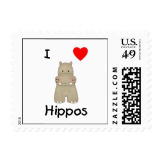 I Love Hippos (3) Postage