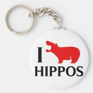 I Love Hippos Basic Round Button Keychain