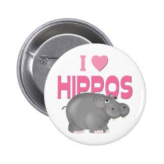 I Love Hippos Button
