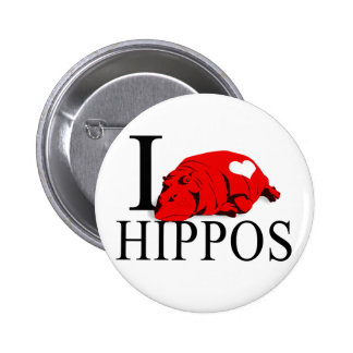 I Love Hippos Buttons