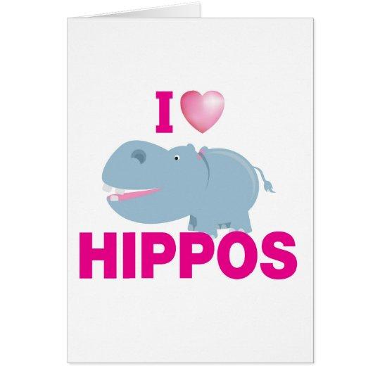 i love hippos card