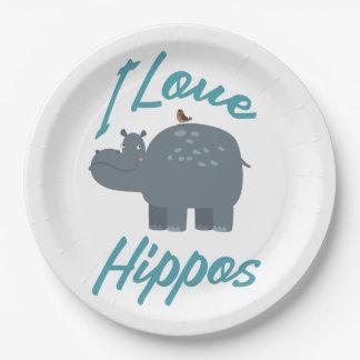 I Love Hippos Cute Kid Friendly Hippo Design Paper Plate