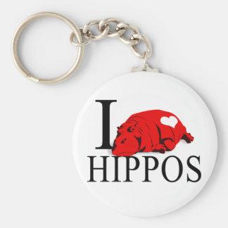 I Love Hippos Keychains