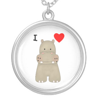 I Love Hippos Round Pendant Necklace