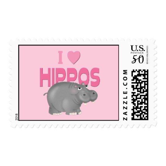 I Love Hippos Postage