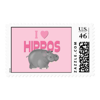 I Love Hippos Stamps