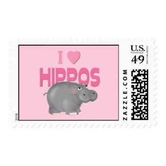 I Love Hippos Postage Stamp