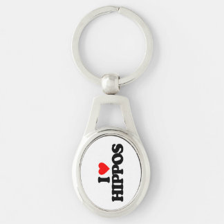 I LOVE HIPPOS Silver-Colored OVAL METAL KEYCHAIN