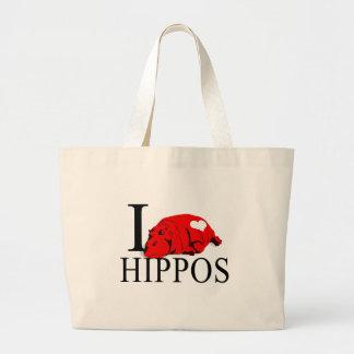 I Love Hippos Tote Bags