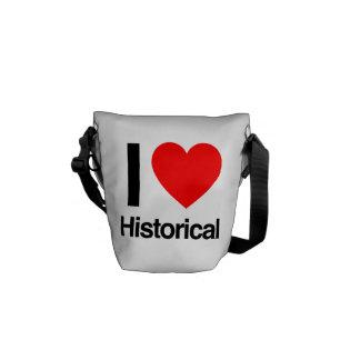 i love historical courier bag