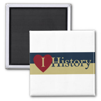 I Love History 2 Inch Square Magnet