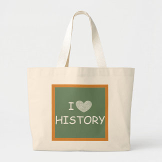 I Love History Large Tote Bag