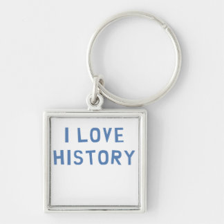 I Love History Silver-Colored Square Keychain