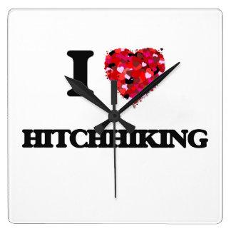 I Love Hitchhiking Square Wall Clocks