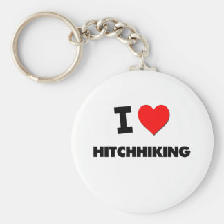 I Love Hitchhiking Basic Round Button Keychain