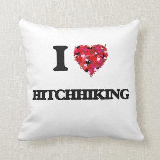 I Love Hitchhiking Throw Pillow