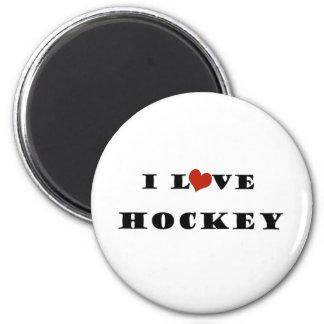 I Love Hockey 2 Inch Round Magnet