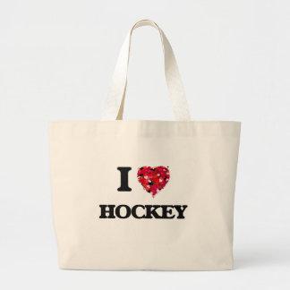 I Love Hockey Jumbo Tote Bag